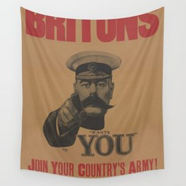 Vintage British First World War Poster - Kitchener Wants You to Join your Country's Army (1914) Wall Tapestry