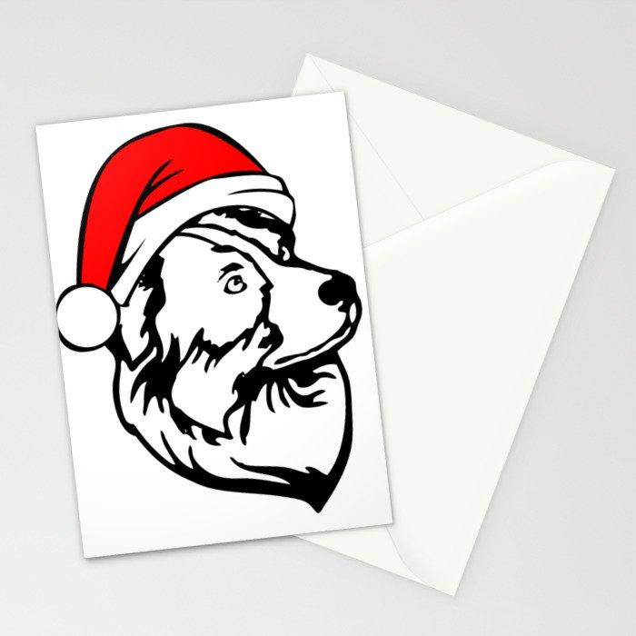 Australian Shepherd Dog with Christmas Santa Hat Stationery Cards