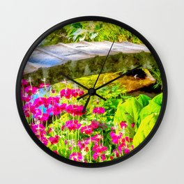 The pretty little bridge. (Painting) Wall Clock