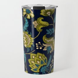 Green and Blue Indian Floral in Dark Blue Travel Mug