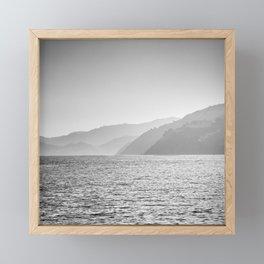 Sea and foggy mountains Framed Mini Art Print