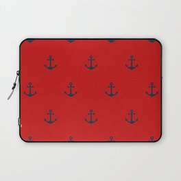 Navy Sailor Anchor Pattern Blue And Red Laptop Sleeve