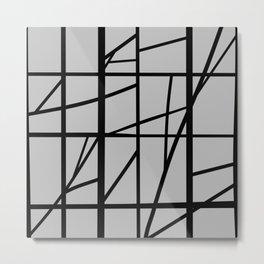 Cracked Abstract - Black, Gray Metal Print