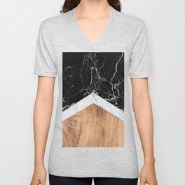 Arrows - Black Granite, White Marble & Wood #366 Unisex V-Neck