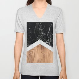Arrows - Black Granite, White Marble & Wood #366 Unisex V-Neck