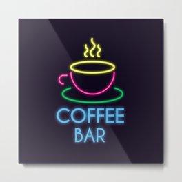 Coffee Bar Neon Metal Print