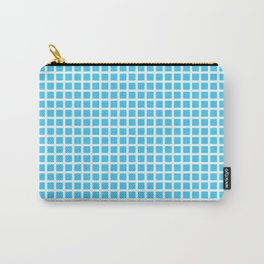 White On Blue Grid Carry-All Pouch