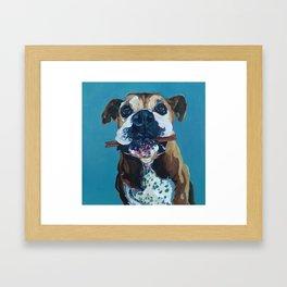 My Happy Abby Boxer Girl Portrait Framed Art Print