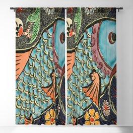 bohemian folk art orange aqua blue japanese good luck koi fish Blackout Curtain