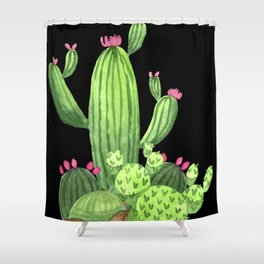 Flowering Cactus Bunch on Black Shower Curtain