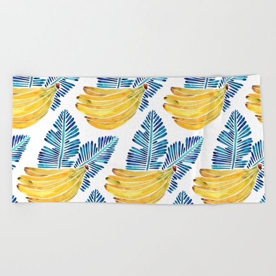 Banana Bunch – Navy Leaves Beach Towel