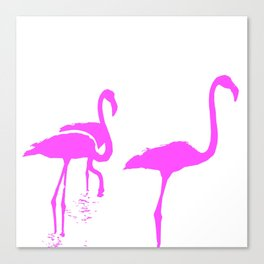 Three Flamingos Pink Silhouette Isolated Canvas Print