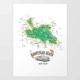 Hampstead Heath London England map. Art Print