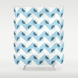 Horizons Geometric Mountain Waves Design 11 - Turquoise Blue Shower Curtain