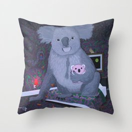 Koala Bear In The Bedroom Throw Pillow
