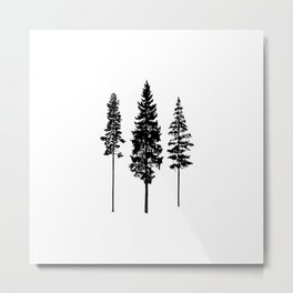 Minimalist Skinny Pine Trees Metal Print