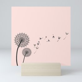 Contemporary Dandelion Flying Seedheads Drawing Mini Art Print