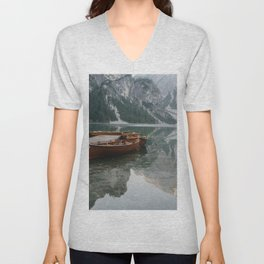 Lago di Braies boat reflection | Travel photography | Dolomites South Tirol Italy Art Print Unisex V-Neck