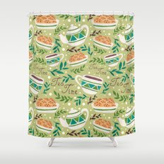 Tea Time Pattern Shower Curtain