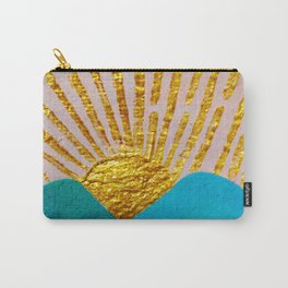 Hand Painted Watercolor Mountain View Sunrise On Handcraft Paper Carry-All Pouch