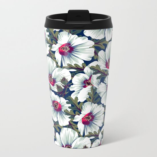 New Zealand Hibiscus Floral Print (Night) Metal Travel Mug