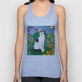 Black and White Cat in the garden - Alfie Chinacat by Nina lyman Unisex Tank Top