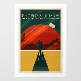 SpaceX Travel Poster: Phobos and Deimos, Moons of Mars Art Print