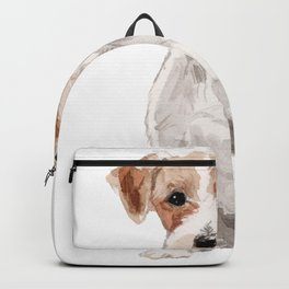 Wired-Haired Jack Russel Terrier watercolors illustration Backpack