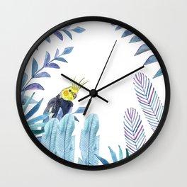 Cockatiel with tropical foliage Wall Clock