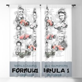 Formula 1 World-Champion from 1950 to 1959 Blackout Curtain
