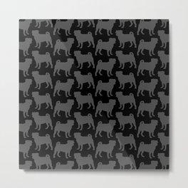 Pug Silhouettes Pattern Metal Print