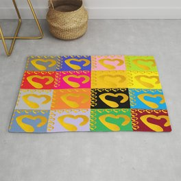 Gold Hearts on colorful Stamp Rug