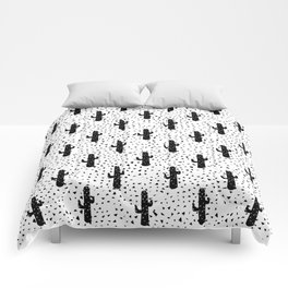 Black and White Modern Cactus and Triangle Geometric Comforters