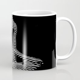 0111-DJA Abstract Nude Black & White Light Zebra Pattern Slender Woman Beautiful Body Flow Coffee Mug