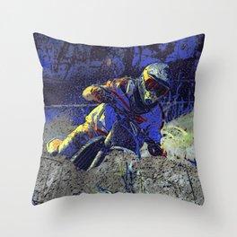 Trail Blazer Motocross Rider Throw Pillow