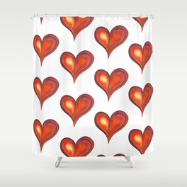 Rows with watercolor hearts Shower Curtain