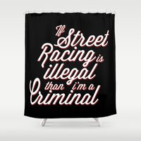 racing Shower Curtains featuring Street Racing  by Barbo's Art
