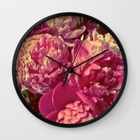 peonies Wall Clocks featuring Peonies by Chelsea Merola