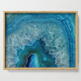 Blue agate marble faux druse crystal quartz gem gemstone geode mineral stone photograph hipster Serving Tray