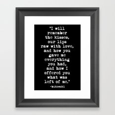 Charles Bukowski Typewriter White Font Quote Love Framed Art Print