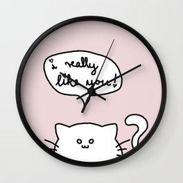 Kitty Likes You Wall Clock
