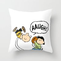 charlie brown Throw Pillows featuring Charlie Brown Foot Ball by PSimages