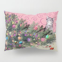 Cat knocked over the Christmas tree Pillow Sham
