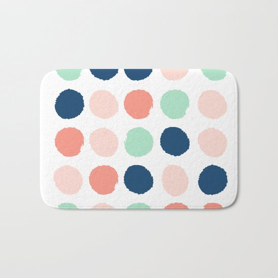 Painted dots pattern minimal basic nursery decor home trends colorful art Bath Mat