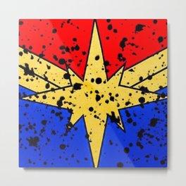 CaptainMarvel Splatter Logo Metal Print