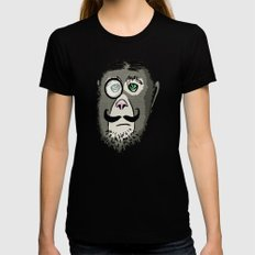 Detective Monkey Head Womens Fitted Tee SMALL Black