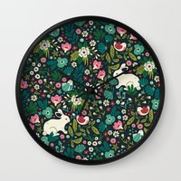 friends Wall Clocks featuring Forest Friends by Anna Deegan