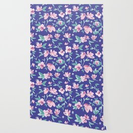 Blue pink and green cute flowers pattern Wallpaper