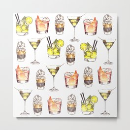 Fun Watercolor Drinks Pattern- Party Time Metal Print