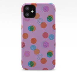 Smiley Face Stamp Print in Purple iPhone Case